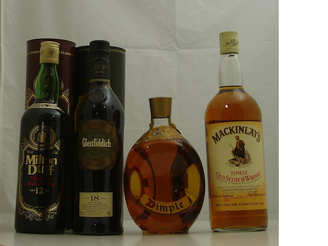 Milton Duff Glenlivet-12 year old<BR /> Glenfiddich-18 year old<BR /> Dimple<BR /> MacKinlay's