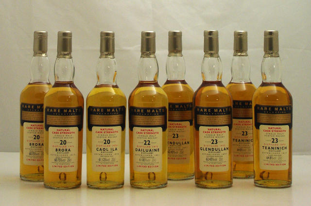 Brora-20 year old-1975 (2)   Caol Ila-20 year old-1975  Dailuaine-22 year old-1973  Glendullan-23 year old-1972 (2)   Teaninich-23 year old-1972 (2)