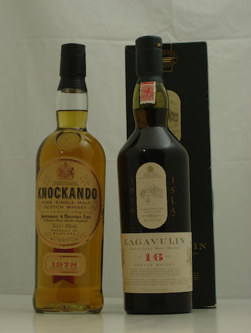 Knockando-1978<BR /> Lagavulin-16 year old<BR /> Bell's Christmas-1990