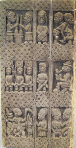 A carved door Nigeria 144 x 72cm