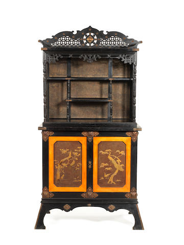 A late 19th century copper-mounted, leather inset ebony, ebonised, palmwood, gold lacquer, fruitwood and aventurine 'Japonisant' cabinet   possibly American by Anthony Kimbel and Joseph Cabus or the Herter Brothers, circa 1876