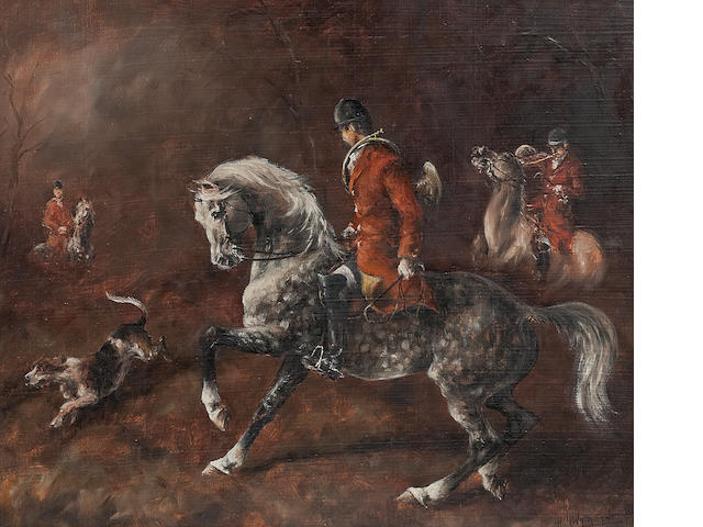 o/c French hunting scene by Hubert de Watrigant