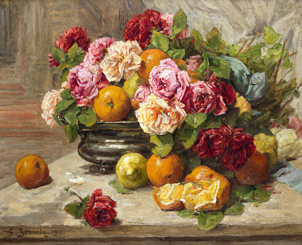 Georges Jeannin (French, 1841-1925) Still life of roses and citrus fruit