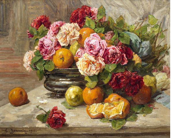 Georges Jeannin (French, 1841-1925) Still life of roses and fruit