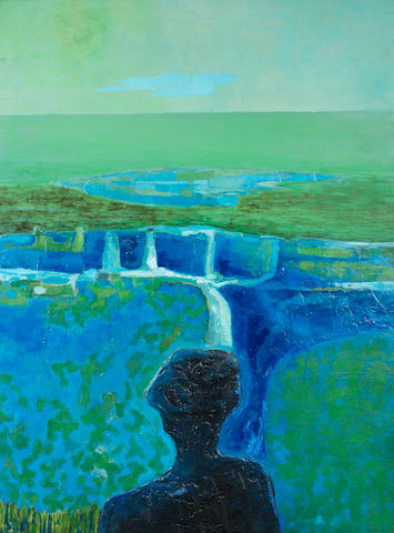 Arthur Armstrong R.H.A. (Irish, 1924-1996) Landscape in Blues & Greens 120 x 90 cm. (47 1/4 x 35 1/2 in.)