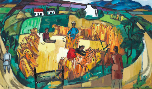 Norah McGuinness (Irish, 1901-1980) The Little Harvest, Mayo 50.2 x 83.5 cm. (19 3/4 x 32 7/8 in.)