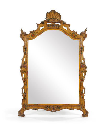 A polychrome-painted and gilt-highlighted mirror, in the 18th century Venetian manner