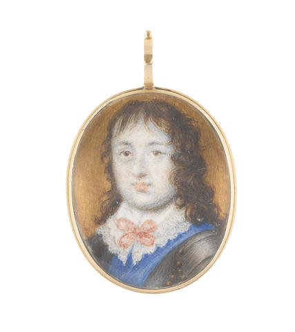 English School, mid-17th century A Stuart sitter, possibly Henry Stuart, 1st Duke of Gloucester (1640–1660), wearing suit of armour, blue sash over his left shoulder, white collar edged with lace and held in place with a pink sash ribbon bow, his curling brown hair worn to his shoulders