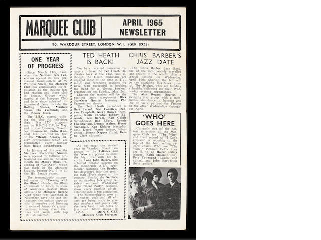 A Marquee flyer, featuring the Who's residency at the club, April 1965,