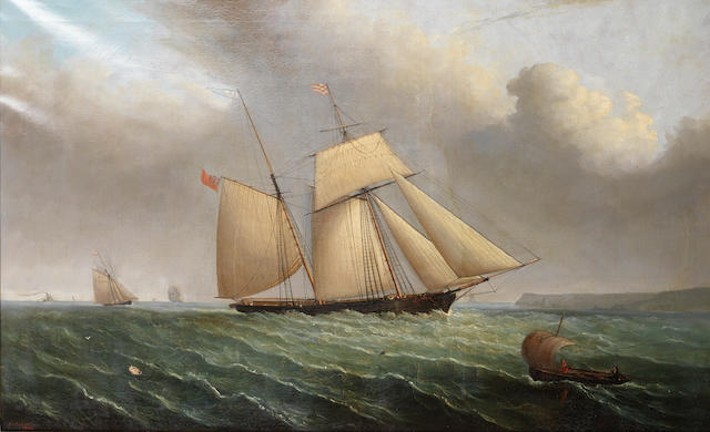 Philip John Ouless (British, 1817-1885) The two master Guillelmo off a headland