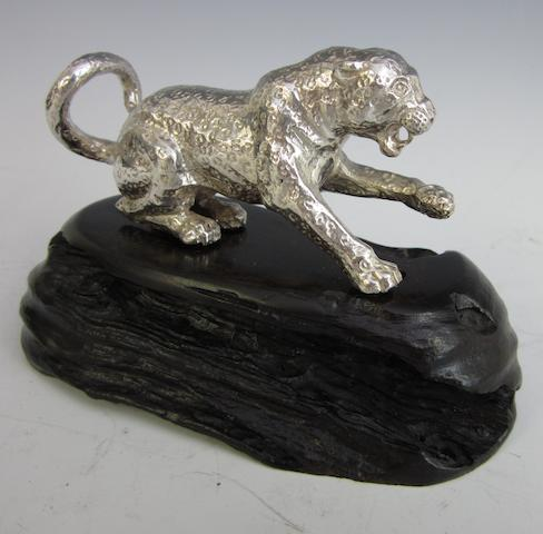 A silver model of a leopard by Patrick Mavros, Zimbabwe circa 1995