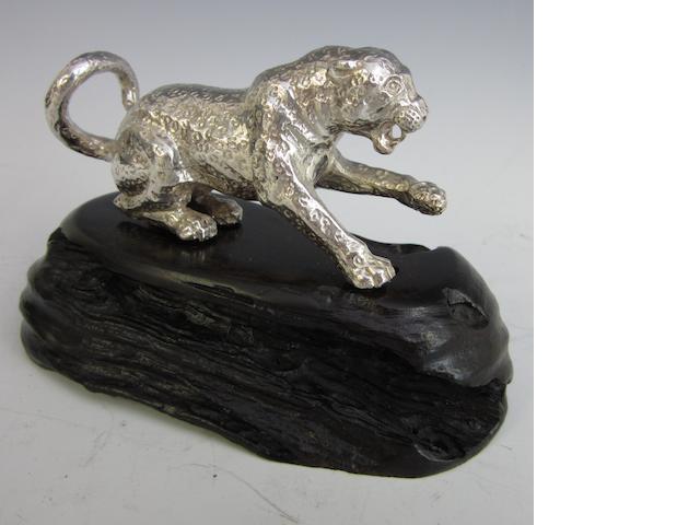 A silver model of a leopard by Patrick Mavros, Zimbabwe circa 1995