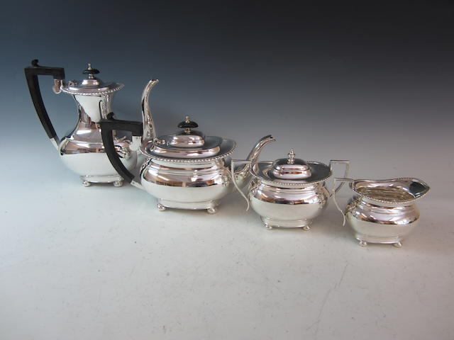 A silver four piece tea and coffee service,  by Mappin and Webb,  Sheffield 1972,  (4)
