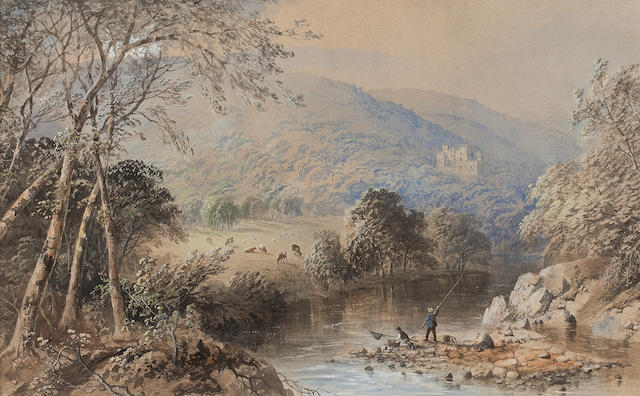 Cornelius Pearson (British, 1805-1891) Fishing in the Lake District