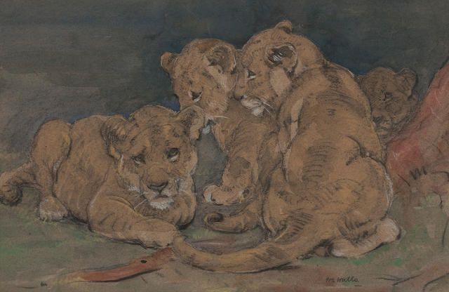 William Walls, RSA RSW (British, 1860-1942) Lion Cubs