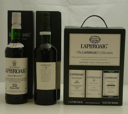 Laphroaig Royal Warrant-10 year old  Laphroaig-15 year old  The Laphroaig Collection