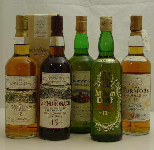 The Glendronach-12 year old<BR /> The Glendronach-15 year old<BR /> Dumbarton-1974<BR /> Milton Duff-12 year old<BR /> The Tormore-10 year old