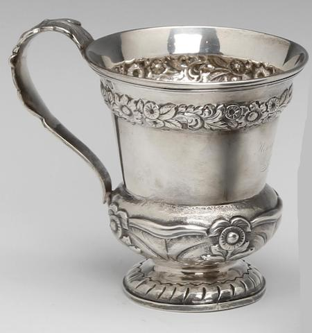 A William IV Irish christening mug by John Nicklin, Dublin 1833