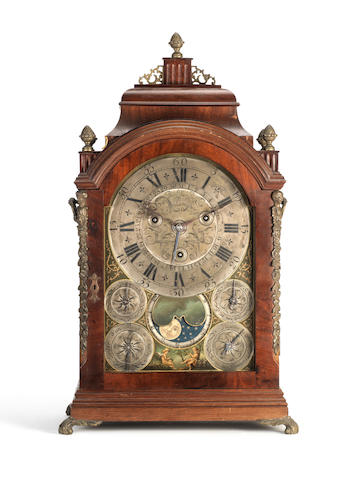 An interesting French mantel clock with moonphase and calendar with carillion bell accompaniment Pierre Margotin, Paris