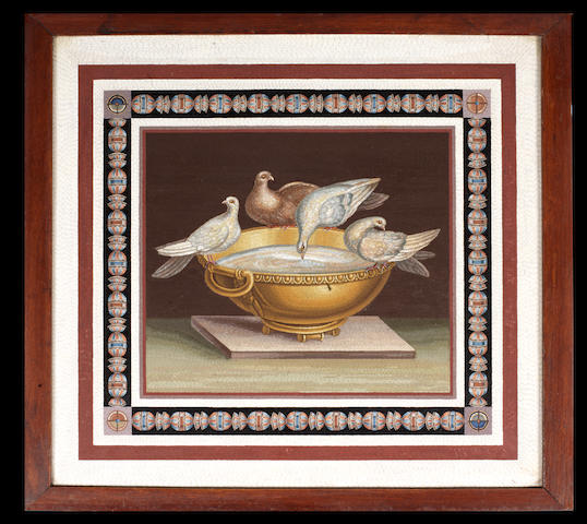 A Roman 19th century micromosaic panel depicting Pliny's Doves