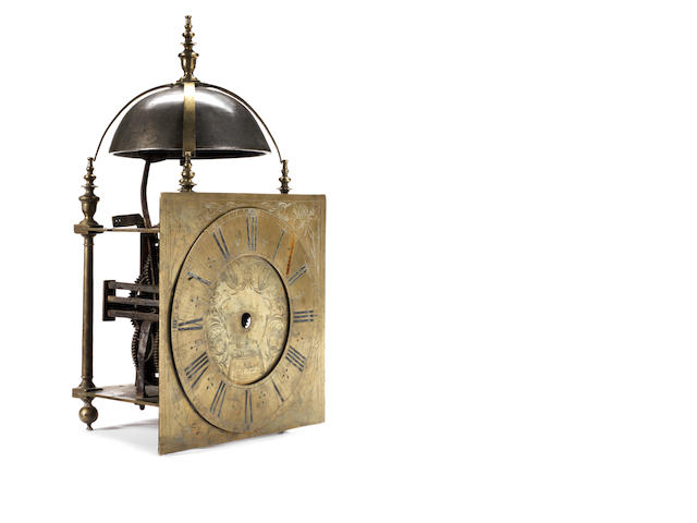 A very rare and interesting second half of the 17th century quarter chiming lantern clock   John Ebsworth, Londini fecit
