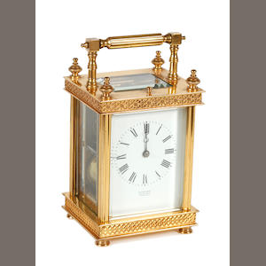 A French brass cased carriage clock 20th Century