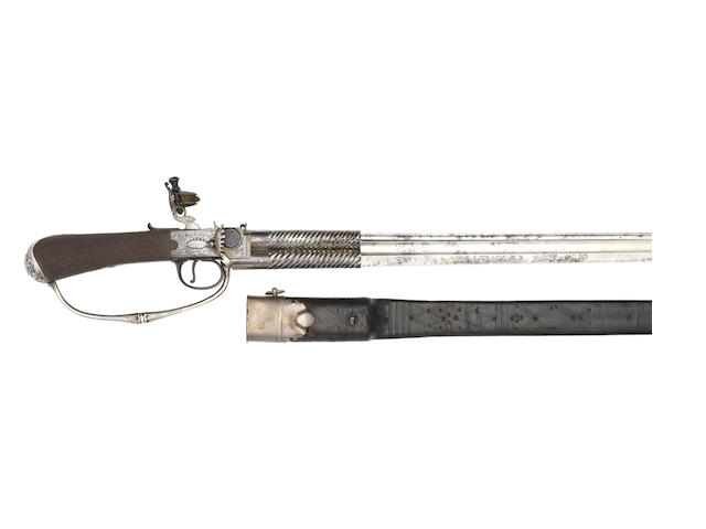 A Fine And Rare Flintlock Combined 54-Bore Box-Lock Over-And-Under Tap-Action Pistol and Sword