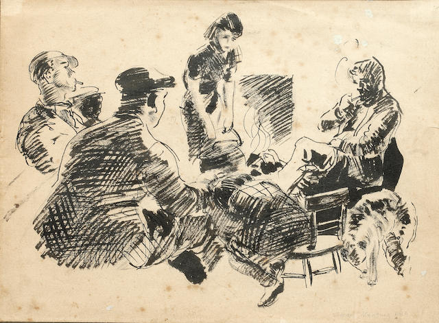 Seán Keating P.R.H.A. (Irish, 1889-1977) Figures gathered around the fire
