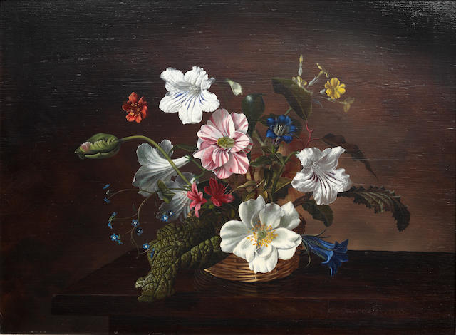 John Lancaster (British) Still life of spring flowers in a basket; and companion and slightly smaller