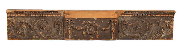 An 18th Century painted pine chimney piece frieze