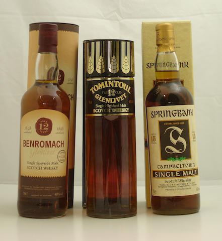 Benromach-12 year old<BR /> Tomintoul-Glenlivet-12 year old<BR /> Springbank-15 year old