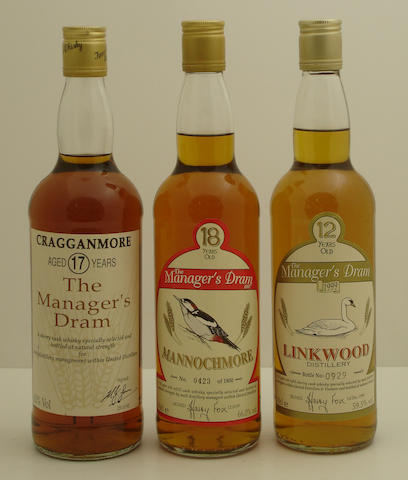 Cragganmore-17 year old  Mannochmore-18 year old  Linkwood-12 year old