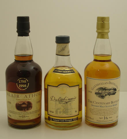 Blair Athol Bicentenary-18 year old<BR /> Dalwhinnie Centenary-15 year old<BR /> Glendullan Centenary-16 year old