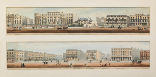 A promenading scene A set of four panoramic views of Regency London