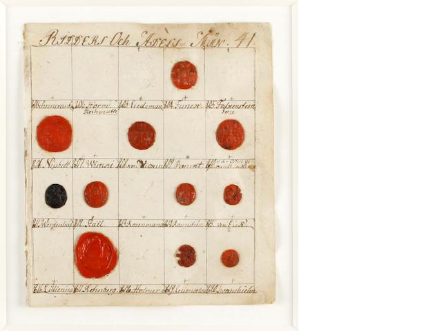 A collection of antique Swedish banker seals, framed