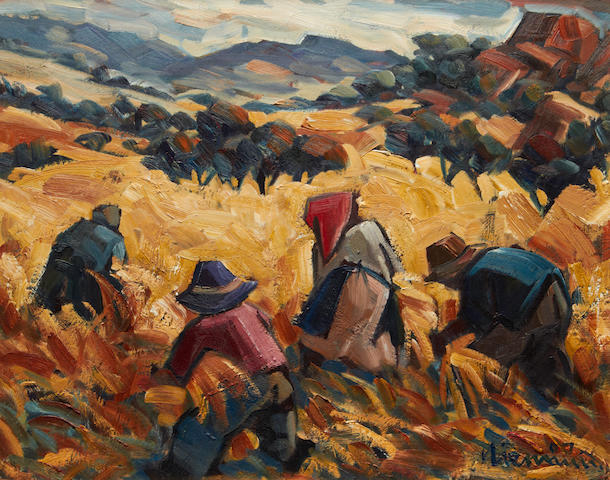 Hendrik Christiaan Niemann (South African, born 1941) Harvesters at work