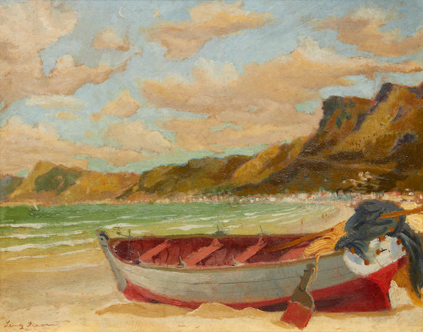 Leng Dixon (South African, 1916-1968) Beach scene with boat