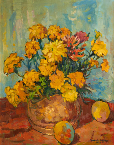 Herbert Coetzer (South African, 1921-2008) Still life of yellow chrysanthemums and peaches