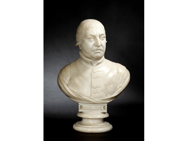 A marble bust of George III