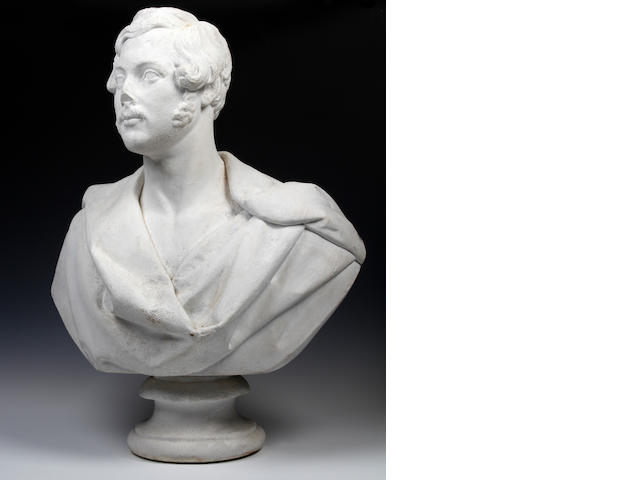 An early Victorian later-painted marble bust, probably of Prince Albert Impressed to reverse 'J. Pitts, SCULPT., London, 1845'