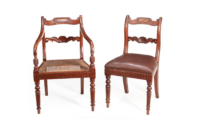 A set of eight George IV mahogany dining chairs