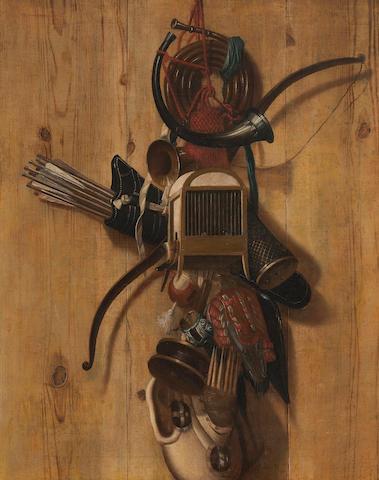 Huybert van Westhoven (Amsterdam 1643-1687) Still life of hawking paraphernalia