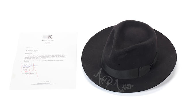 An autographed Michael Jackson black fedora, together with documentation, 1989,