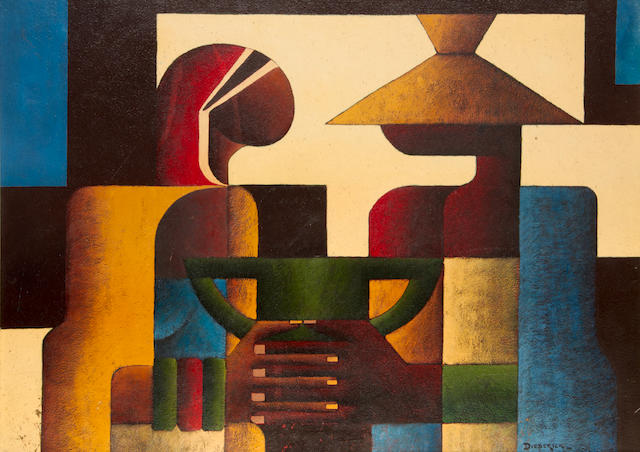 Diederick During (South African, 1917-1999) Abstract figures