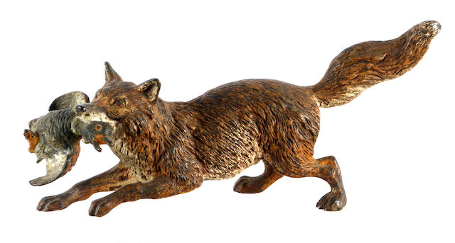 An Austrian cold painted bronze group of a fox and duck