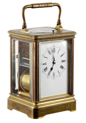 A French brass grande sonnerie carriage clock