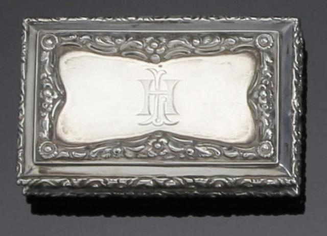 A Victorian rectangular silver snuff box by Nathaniel Mills, Birmingham 1838,