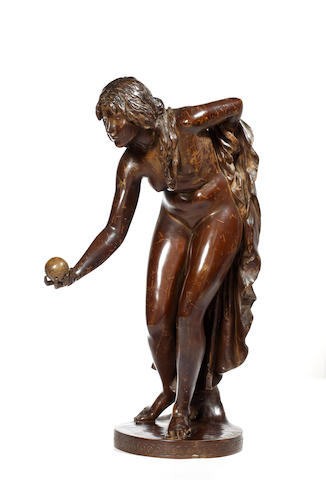 A bronze figure by Walter Schitt, 'Kugelspielerin'German, 1861-1938