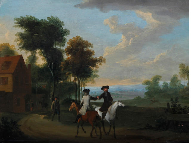Circle of Peter Tillemans (Antwerp 1684-1734 Norton) Riders on a country road, and another similar, a pair