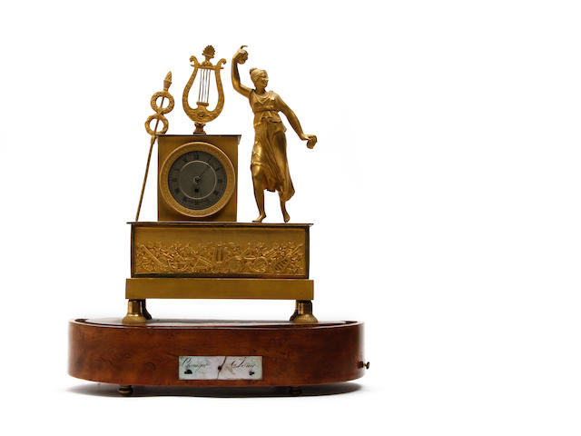 A 19th century French musical mantel clock with dancing lady Leroy, Paris